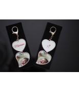 Porte-clés métal double coeurs