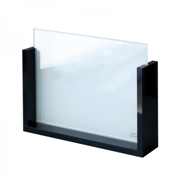 Cadre photo en verre support noir brillant paysage amdesign for Cadre photo en verre