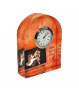 Mini Bloc Photo en cristal horloge